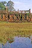 Ruins- Cambodia. Terrace of the Elephants in the walled city/ruins of Angkor Thom at the UNESCO World Heritage archaeological ruins of Angkor Wat- Siem Reap Stock Photos