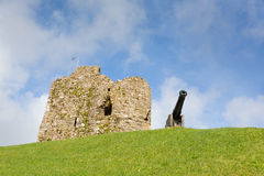 Ruins and cannon Tenby hill Pembrokeshire Wales UK Stock Photography