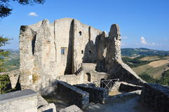 Ruins of Canossa. Viewing of the ruins of the important Canossa castle stock photography