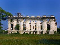 Ruins of the Cantacuzino Palace, also known as the `Little Trianon` in Floresti, Prahova County, Romania. The Cantacuzino Palace, also called the `Little Trianon Stock Photography