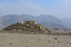Ruins of the Caral-Supe civilization, Peru. Ruins of the town of the Caral Supe civilization, the oldest civilization of America, in Peru. This ruins are an royalty free stock photo