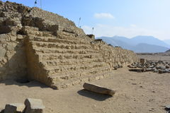 Ruins in Caral-Supe, Peru. Ruins in the town of the Caral Supe civilization, the oldest civilization of America, in Peru. This ruins are an UNESCO heritage royalty free stock photography