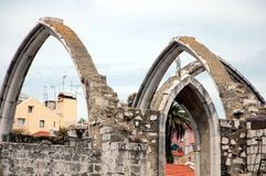 Carmo Church in Lisbon. The ruins of the Carmo Church destroyed in the earthquake 1755 Lisbon, Portugal Stock Photos