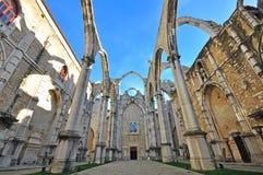 Ruins of Carmo church in Lisbon Stock Photos