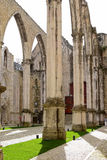 Ruins of Carmo church in  Lisbon,. Portugal Royalty Free Stock Photos