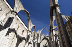 Ruins of the Carmo Convent. Detail of the ruins of the Convent of Our Lady of Mount Carmel (the Carmo Convent), a medieval convent destroyed by 1755 Lisbon Royalty Free Stock Photography