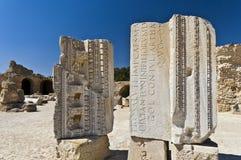 Ruins of Carthage, Roman alphabet. Ruins of Carthage, ancient Roman bath Royalty Free Stock Images
