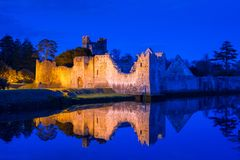 Ruins of the castle in Adare. At night, Ireland Royalty Free Stock Images