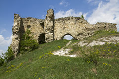 Ruins of the castle. Against cloudy sky, western Ukraine Royalty Free Stock Image