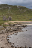 Ruins of Castle Ardvreck farm, Scotland. Royalty Free Stock Photography
