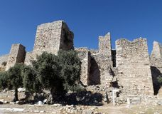 Ruins of the castle Bechin Milas Turkey. The ruins of the castle Bechin in Milas, Turkey Royalty Free Stock Image
