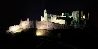 Ruins of the Castle Beckov in night. Slovakia Royalty Free Stock Photo