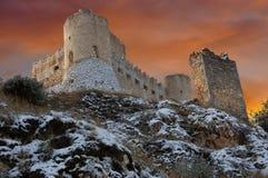Ruins of the Castle Calascio. Winter view of the ruins of the castle of Calascio in Abruzzo, Italy stock photos