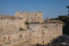 Ruins of the castle and city walls of Rhodes. Defensive Fortress Royalty Free Stock Photography