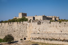 Ruins of the castle and city walls of Rhodes. Stock Image