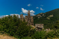 Ruins of a castle in Corsica  along the GR20 route - 4 Stock Photos
