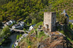 Ruins of the castle in Esch-sur-Sure village. Luxembourg Stock Images