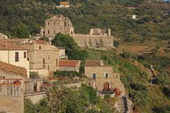 Fiumefreddo medieval town. The ruins of the castle at fiumefreddo del bruzio in south italy royalty free stock photos