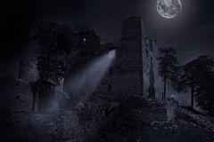 Ruins of castle Helfenburk in mystery moonlight. Stock Photography