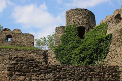 The ruins of the castle on the hill Chojnik near Jelenia Góra. Royalty Free Stock Photo