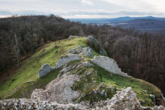 Ruins of the castle Hrusov in deciduous forest and surrounding c Stock Photo