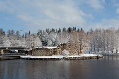 Kajaani castle covered with snow. Ruins of a castle on an island in the center of the town of Kajaani, Finland Stock Photos