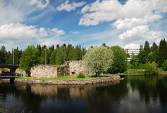 Ruins of castle on island, Kajaani. Stock Images