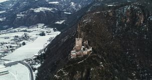 Ruins of a Castle on the Italian Alps stock footage