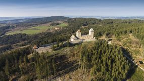 Ruins of Castle Kasperk aerial view. The Czech Republic, Europe stock photo