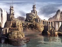 Ruins of  castle on the lake Royalty Free Stock Photo