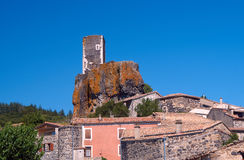 The ruins of the castle in the medieval town of Mirabel Royalty Free Stock Image