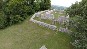 Ruins of the castle in a middle of forest stock video footage