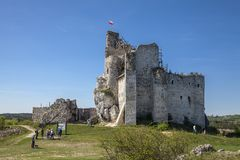Ruins of the castle in Mirow next to castel in Bobolice. Castle in the village of Mirow in Poland, Jura Krakowsko-Czestochowska. Stock Images