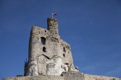 Ruins of the castle in Mirow next to castel in Bobolice. Castle in the village of Mirow in Poland, Jura Krakowsko-Czestochowska. Royalty Free Stock Photos