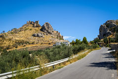 Ruins of a castle at  Moclin, Granada, Andalusia, Spain Royalty Free Stock Photo
