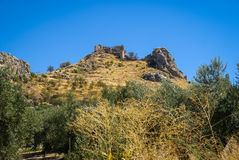 Ruins of a castle at  Moclin, Granada, Andalusia, Spain Stock Photos
