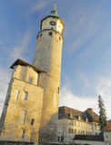 Ruins of castle Neideck; Arnstadt, Germany. The ruins of Renaissance castle Neideck (1553-1560), including restored Bell Tower; Arnstadt, the oldest town in stock images