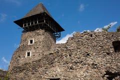 Ruins of Castle Nevytske in Transcarpathian region. Main keep tower donjon. Ukraine stock image
