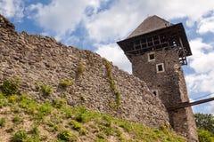 Ruins of Castle Nevytske in Transcarpathian region. Main keep tower donjon. Ukraine royalty free stock photography