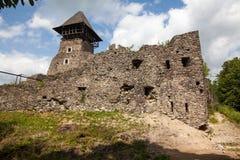 Ruins of Castle Nevytske in Transcarpathian region. Main keep tower (donjon. Ukraine stock images