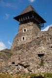 Ruins of Castle Nevytske in Transcarpathian region. Main keep tower donjon. Ukraine stock images