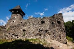 Ruins of Castle Nevytske in Transcarpathian region. Main keep tower donjon. Ukraine royalty free stock image
