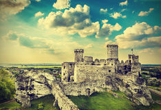 Ruins of a castle, Ogrodzieniec in Poland, vintage. Stock Photo