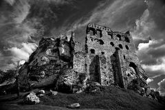 Ruins of the castle. Old ruins of the castle in Poland stock photography