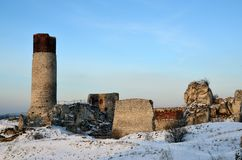 The ruins of the castle in Olsztyn stock images