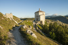 Ruins of the castle of Rocca Calascio in Abruzzo, Stock Image