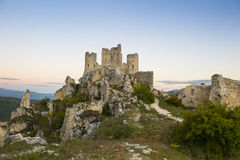 Ruins of the castle of Rocca Calascio in Abruzzo, Royalty Free Stock Photo