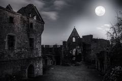 Ruins of castle Schaunberg in mystery moonlight. Stock Image