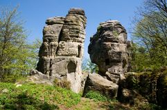 Ruins of castle Skaly, Eastern Bohemia, Czech Republic. Sandstone rocks with ruins of castle Skaly near Teplicke skaly, Eastern Bohemia, Czech Republic Stock Images