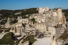 Ruins of the castle standing atop of picturesque village. Les Baux-de-Provence, France royalty free stock images
